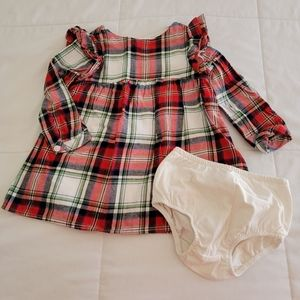 Cat & Jack Plaid Holiday Dress with Bloomers, 18m